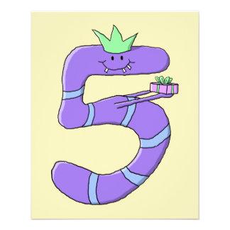Purple 5th Birthday Cartoon. 11.5 Cm X 14 Cm Flyer