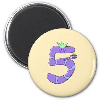 Purple 5th Birthday Cartoon. Refrigerator Magnet