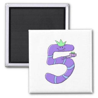 Purple 5th Birthday Cartoon. Square Magnet