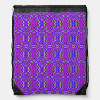 Purple 60 s Retro Fractal Art Pattern Backpacks