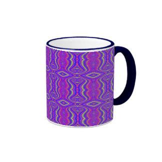 Purple 60 s Retro Fractal Pattern Coffee Mugs