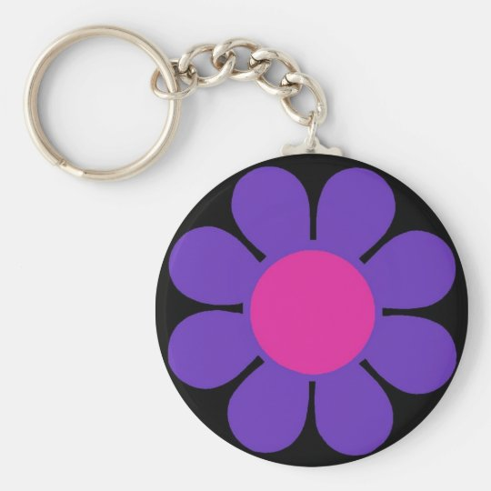 Purple 60's Flower Power Basic Round Button Key Ring