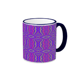 Purple 60's Retro Fractal Pattern Ringer Coffee Mug
