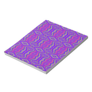 Purple 60's Retro Fractal Pattern Notepad