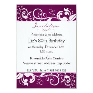 Purple 80th Birthday Invitation