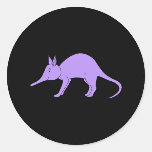 Purple Aardvark Round Sticker