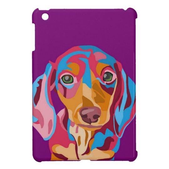 Purple Abstract Dachshund iPad Mini Cases
