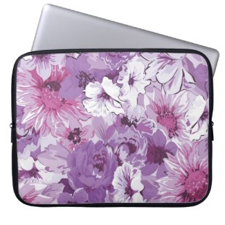 Purple Abstract Elegant Floral Design Laptop Sleeve