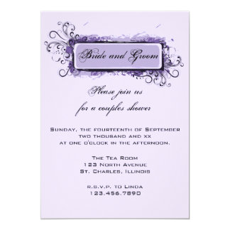 Purple Abstract Floral Couples Wedding Shower Card