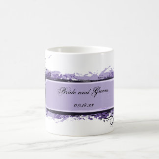 Purple Abstract Floral Wedding Coffee Mug