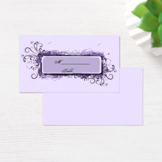 Purple Abstract Floral Wedding Place Card