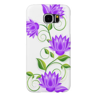 Purple Abstract Flowers Illustration Samsung Galaxy S6 Cases