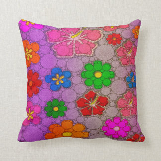 Purple Abstract Flowers Throw Cushions