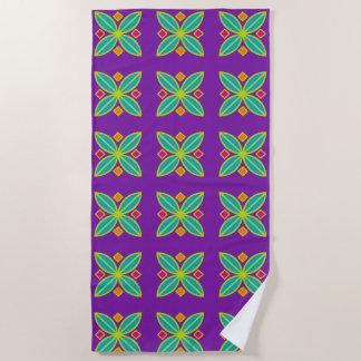 Purple abstract geometric beach towel