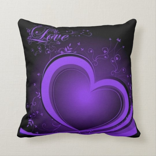 Purple Abstract Heart Throw Pillow