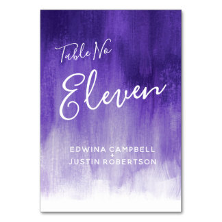 Purple abstract modern art table number Eleven