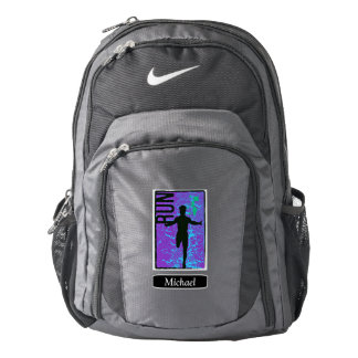 Purple Abstract Silhouette Runner Backpack
