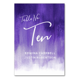Purple abstract wash modern art table number Ten
