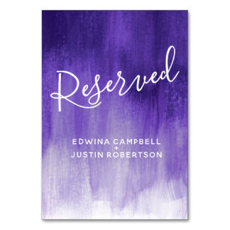 Purple abstract wash modern art table reserved card