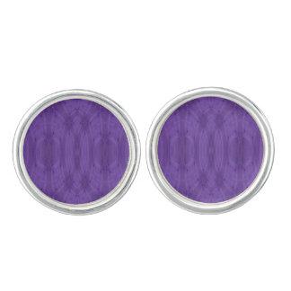 Purple abstract wood cufflinks