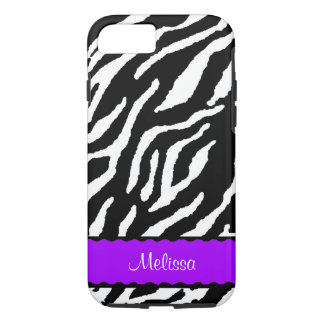 Purple Accent With White And Black Tiger iPhone 8/7 Case