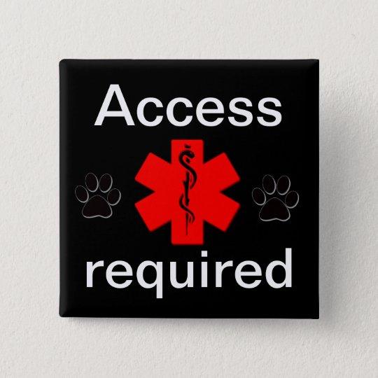 Purple access required medical alert 15 cm square badge