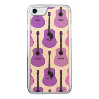 Purple Acoustic Guitars Pattern Carved iPhone 8/7 Case