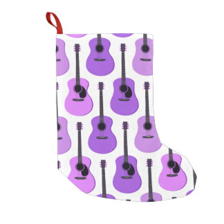 Purple Acoustic Guitars Pattern Small Christmas Stocking