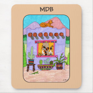 Purple Adobe House & Four Cats Custom Monogram Mouse Mat