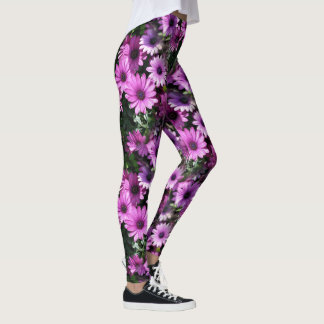 Purple African Daisy Flowers Nature Pattern Leggings