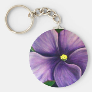 Purple African Violet Basic Round Button Key Ring