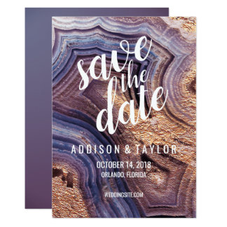 Purple agate geode violet save the date rose gold card