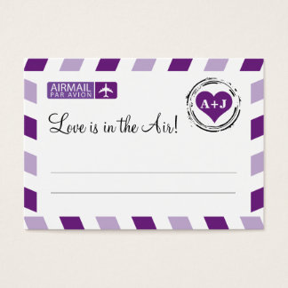 Purple Airmail Seating Card Wedding