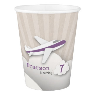 Purple Airplane Birthday Party Cups
