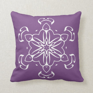 Purple Alien Floral Tribal Motif Throw Pillow