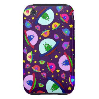 Purple alien spaceship pattern iPhone 3 tough cases