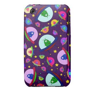 Purple alien spaceship pattern Case-Mate iPhone 3 cases