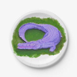 Purple alligator / Florida crocodile Egypt animal Paper Plate