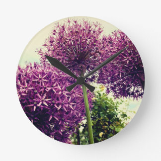 Purple Allium Wall Clocks