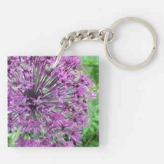 Purple Allium Flower Keychain