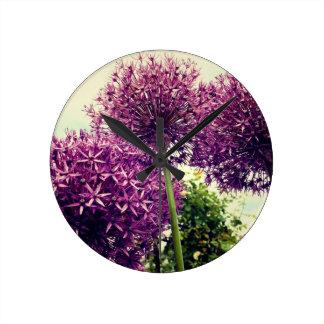 Purple Allium Round Clock