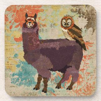 Purple Alpaca Mums Owl Coaster