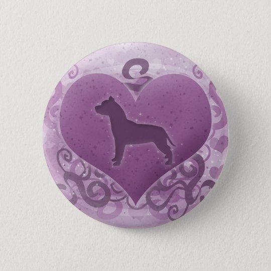Purple American Pit Bull Terrier Valentine 6 Cm Round Badge