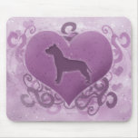 Purple American Pit Bull Terrier Valentine Mouse Mat