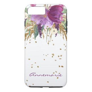 Purple Amethyst Floral Gold Sparkles Monogram iPhone 8 Plus/7 Plus Case