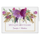 Purple Amethyst Flowers Gold Glitter Thank You