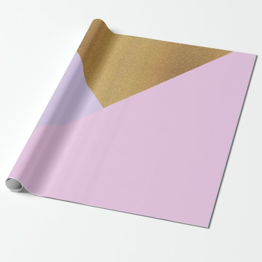 Purple Amethyst Glass Lilac Gold Pastel Geometry Wrapping Paper