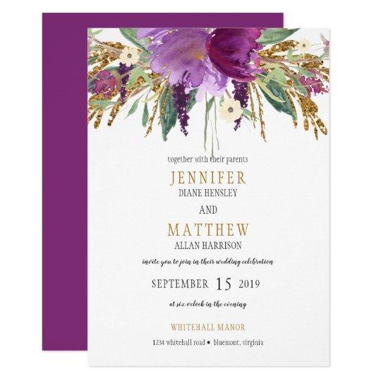 Purple Amethyst Gold Glitter Greenery Wedding | Card