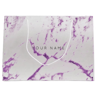 Purple Amethyst  Marble Metallic Gift Gray Silver Large Gift Bag