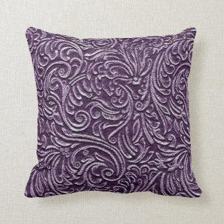 Purple Amethyst Vintage Tin Tile Look Rustic Home Cushion